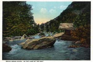 Blue Ridge Mountains, North Carolina - Rocky Broad River Scene by Lantern Press