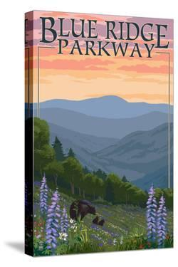 Blue Ridge Parkway - Bear Family and Spring Flowers by Lantern Press