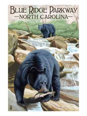 Blue Ridge Parkway, North Carolina - Black Bears Fishing by Lantern Press