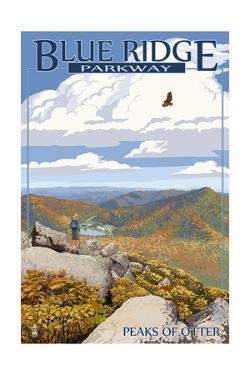 Blue Ridge Parkway - Peaks of Otter in Fall by Lantern Press