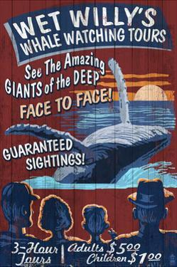 Blue Whale Watching - Vintage Sign by Lantern Press
