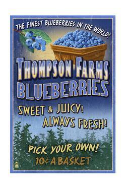 Blueberry Farm - Vintage Sign by Lantern Press