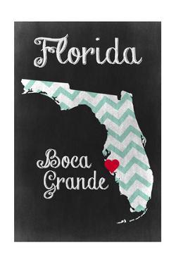 Boca Grande, Florida - Chalkboard State Heart (red heart) by Lantern Press