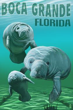 Boca Grande, Florida - Manatees by Lantern Press