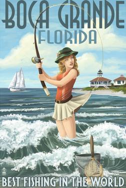 Boca Grande, Florida - Pinup Girl Fishing by Lantern Press