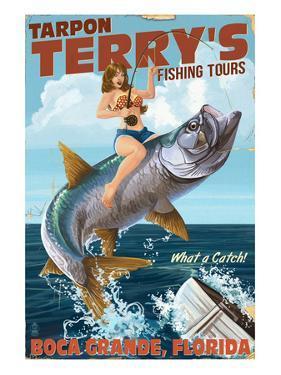 Boca Grande, Florida - Pinup Girl Tarpon Fishing by Lantern Press
