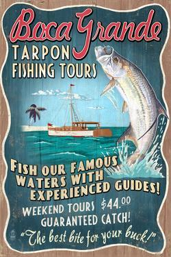 Boca Grande, Florida - Tarpon Fishing Tours Vintage Sign by Lantern Press