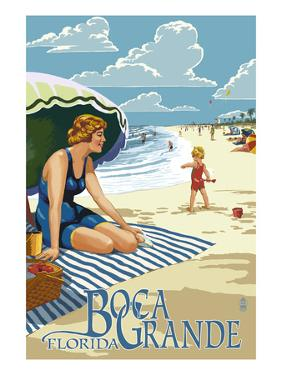 Boca Grande, Florida - Woman and Beach Scene by Lantern Press