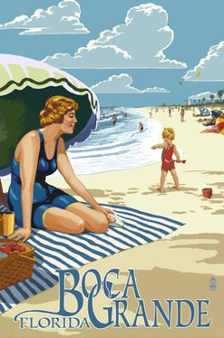 Boca Grande, Florida - Woman and Beach Scene by Lantern Press