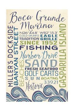 Boca Grande Marina, Florida - Typography with Waves by Lantern Press
