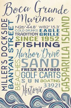 Boca Grande Marina, Florida - Typography with Waves by Lantern Press