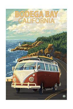 Bodega Bay, California - VW Van Coastal by Lantern Press