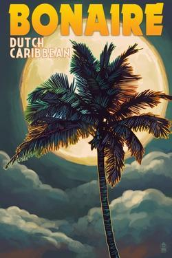 Bonaire, Dutch Caribbean - Palm and Moon by Lantern Press