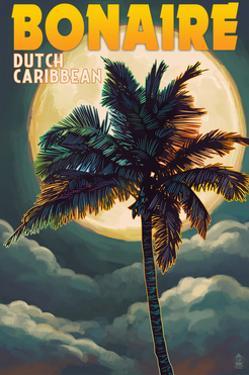 Bonaire, Dutch Caribbean - Palm and Moon by Lantern Press