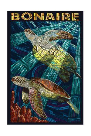 Bonaire, Dutch Caribbean - Sea Turtle Mosaic by Lantern Press