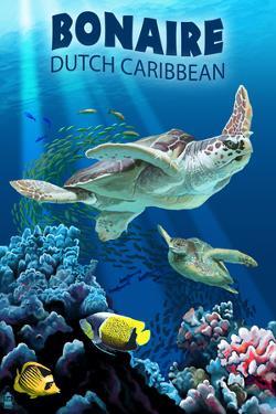 Bonaire, Dutch Caribbean - Sea Turtle Swimming by Lantern Press