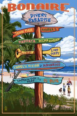 Bonaire, Dutch Caribbean - Sign Destinations by Lantern Press