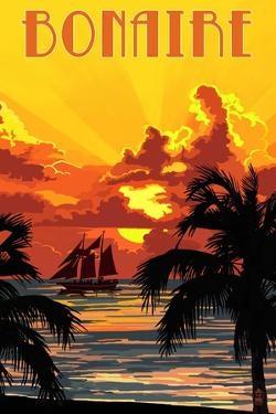 Bonaire, Dutch Caribbean - Sunset and Ship by Lantern Press