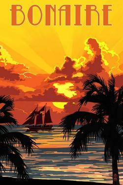 Bonaire, Dutch Caribbean - Sunset and Ship by Lantern Press