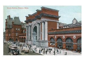 Boston, Massachusetts - Crowds Outside North Station by Lantern Press