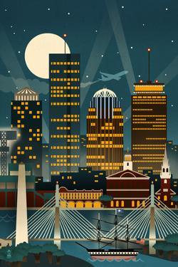 Boston, Massachusetts - Retro Skyline (no text) by Lantern Press
