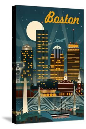 Boston, Massachusetts - Retro Skyline