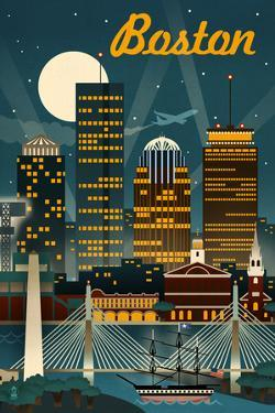 Boston, Massachusetts - Retro Skyline by Lantern Press