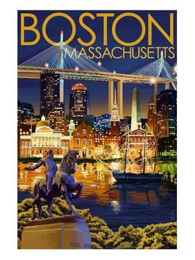 Boston, Massachusetts - Skyline at Night by Lantern Press