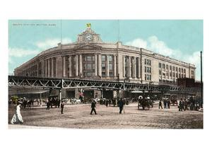 Boston, Massachusetts - South Station with Elevated Train by Lantern Press