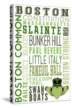 Boston, Massachusetts - Typography with Claddaugh by Lantern Press