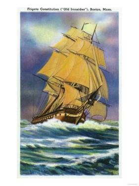 Boston, Massachusetts - View of Frigate Constitution, Old Ironsides Ship by Lantern Press