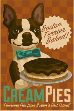 Boston Terrier - Retro Cream Pie Ad by Lantern Press