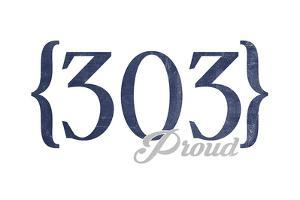 Boulder, Colorado - 303 Area Code (Blue) by Lantern Press