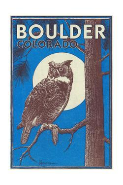 Boulder, Colorado - Horned Owl in the Moonlight - Vinatge Magazine Cover by Lantern Press