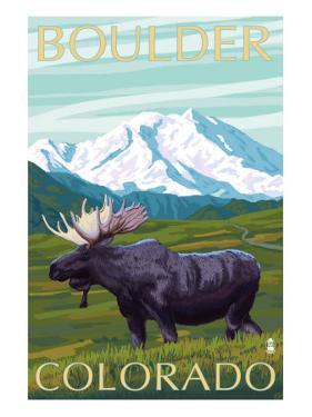 Boulder, Colorado, Moose and Mountain by Lantern Press