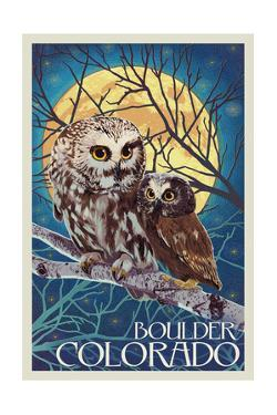 Boulder, Colorado - Owl and Owlet by Lantern Press