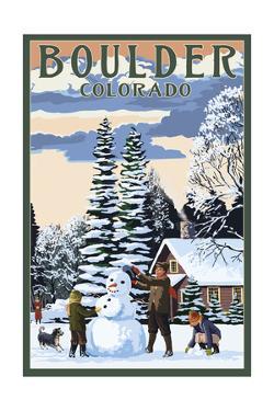 Boulder, Colorado - Snowman Scene by Lantern Press