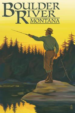 Boulder River, Montana - Fly Fishing Scene by Lantern Press