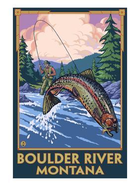 Boulder River, Montana - Fly Fishing Scene by Lantern Press