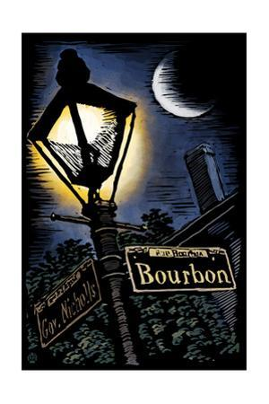 Bourbon Street - New Orleans, Louisiana - Scratchboard by Lantern Press
