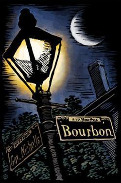 Bourbon Street - New Orleans, Louisiana - Scratchboard by Lantern Press