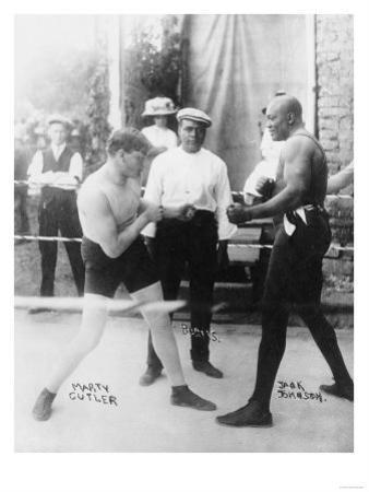Boxers Marty Cutler and Jack Johnson Photograph
