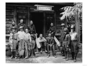 Boy Scouts at ranger station Photograph - Seattle, WA by Lantern Press
