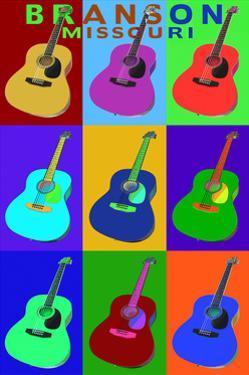 Branson, Missouri - Acoustic Guitar Pop Art by Lantern Press