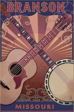 Branson, Missouri - Guitar and Banjo by Lantern Press