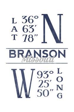 Branson, Missouri - Latitude and Longitude (Blue) by Lantern Press