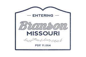 Branson, Missouri - Now Entering (Blue) by Lantern Press