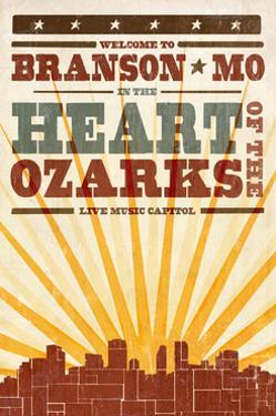 Branson, Missouri - Skyline and Sunburst Screenprint Style by Lantern Press