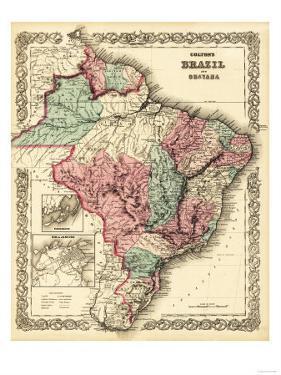 Brazil and Guayana - Panoramic Map by Lantern Press