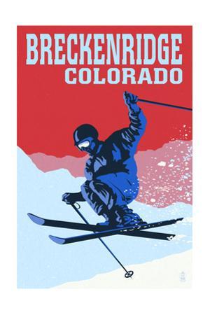 Breckenridge, Colorado - Colorblocked Skier by Lantern Press
